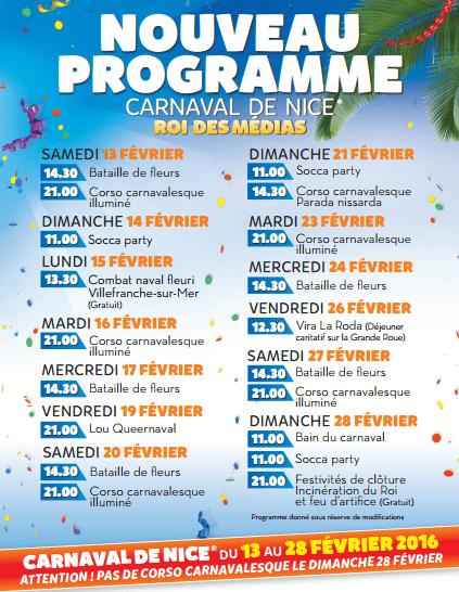 programme carnaval de nice 2016